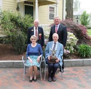 Barbara & Al Bishop, seated, were honored with Eastern States Exposition's Agricultural Adventurers Award May 21 during the organization's annual meeting. Standing are ESE Trustee Richard L. Nickless, chair of the Agricultural Adventurers Committee, left, and ESE Chairman of the Board, Donald R. Chase.