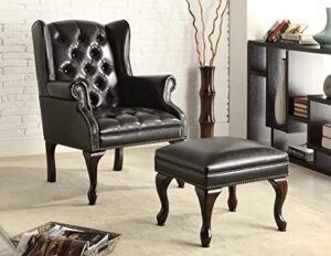 Coaster Home Furnishings Wing Back Button Tufted Accent Chair and Ottoman