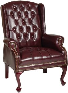 Office Star Thick Padded Vinyl Tufted High Back Traditional Queen Anne Style Chair